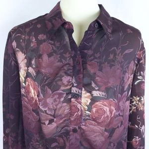 Romantic Gothic Sheer Winter Roses Career Blouse